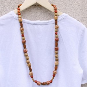Boho Colorful Necklace, Wooden Beads Necklace, Earthy Necklace, Brown Necklace