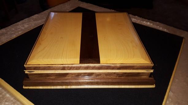Jewelry box made from maple black walnut and ebony aftcra