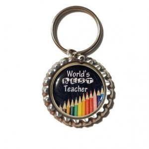 Worlds Best Teacher  Bottle Cap Keychain, Teacher, Teacher Gift, School, Back to School