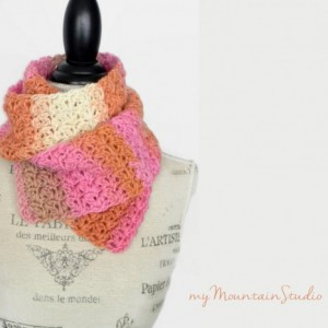 Kaleidoscope Cheesecake Wrap and Tuck Cowl Scarf - Handmade - Wool