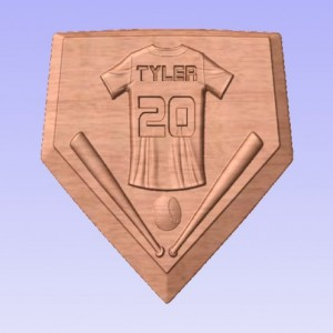 Personalized Home Plate Baseball/Softball V Carved Wooden Sign