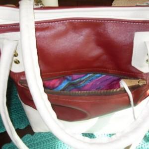 Hand made Leather Three Pocket Designer burgundy and cream bucket bag