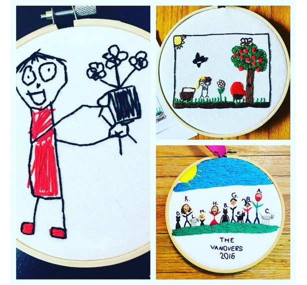 6 inch Hoop, Your Child's Art Work, Your Child's Drawing, Custom Embroidery Hoop, Embroidered Wall Hanging, Custom Artwork, Embroidered Children's Art