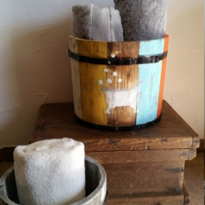 Rustic, repurposed, hand painted wooden apple barrel