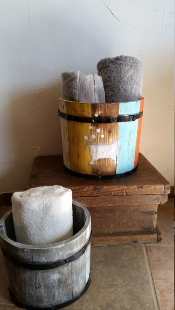 Rustic, repurposed, hand painted wooden apple barrel