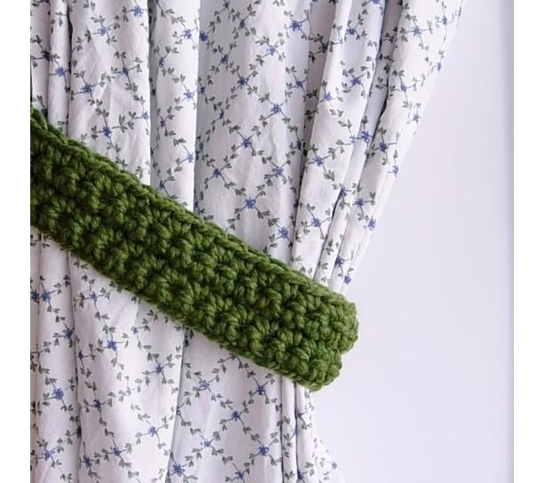 Solid Green Thick Curtain Tiebacks, Crochet Drapery Tie