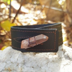Brown Leather Cuff, Raw Rose Quartz Crystal-Upcycled Leather-Standard Medium, Unisex, 6.5, 7 in wrist
