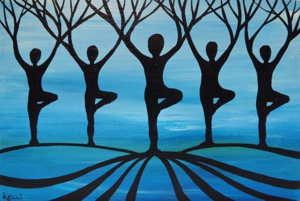 """""""Designer Yoga Forest 3"""" original painting"""
