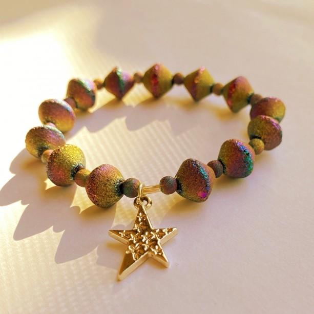 Rainbow Druzy & Silver Star Bracelet
