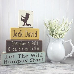 Where The Wild Things Are - personalized baby gift- new baby birth stats sign