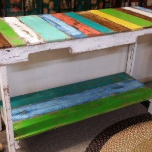 Handcrafted Reclaimed Wooden Whitewashed Multi Colored Pallet Sofa Table