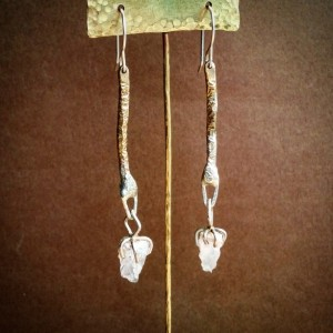 Raw Quartz Crystal Sterling Silver and Brass Drop Dangle Earrings rough quartz Prong set
