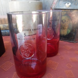 Ciroc Bottle Upcycled Tumbler Glasses. Set of 2, Red