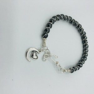 Silver and Hematite Wrapped Bangle Bracelet