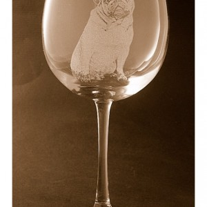 Etched Pug on Elegant Wine Glass (set of 2)