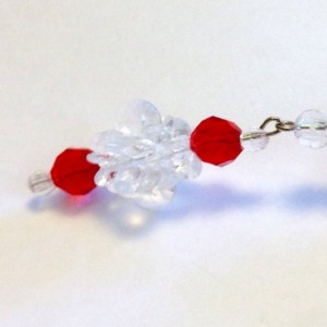 2 Icicle Ornaments, Red and Clear Handmade Ornaments, Christmas Decoration, Long Dangle Beaded Christmas Ornaments, Traditional Beaded Icicle