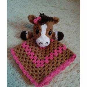 Crochet Pony Lovey, Baby Blanket, Comfort Blanket, Security Blanket, Baby Shower Gift