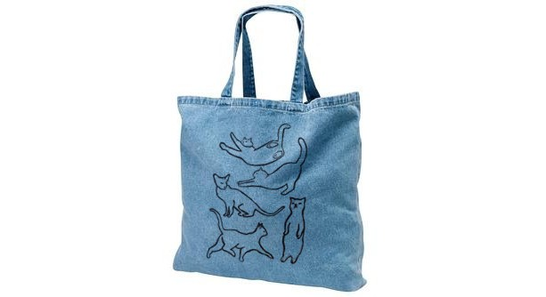 Bleached denim cat tote bag, black cat silhouettes, gift for cat lover, cat lady, canvas tote bag, grocery bag, trick or treating, halloween