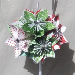 Large Joyful Origami Christmas Tree Ornament, Christmas Ball, Origmai Ornament, Christmas Decor, Flower Ball, Kusudama Ornament, Fan Pull