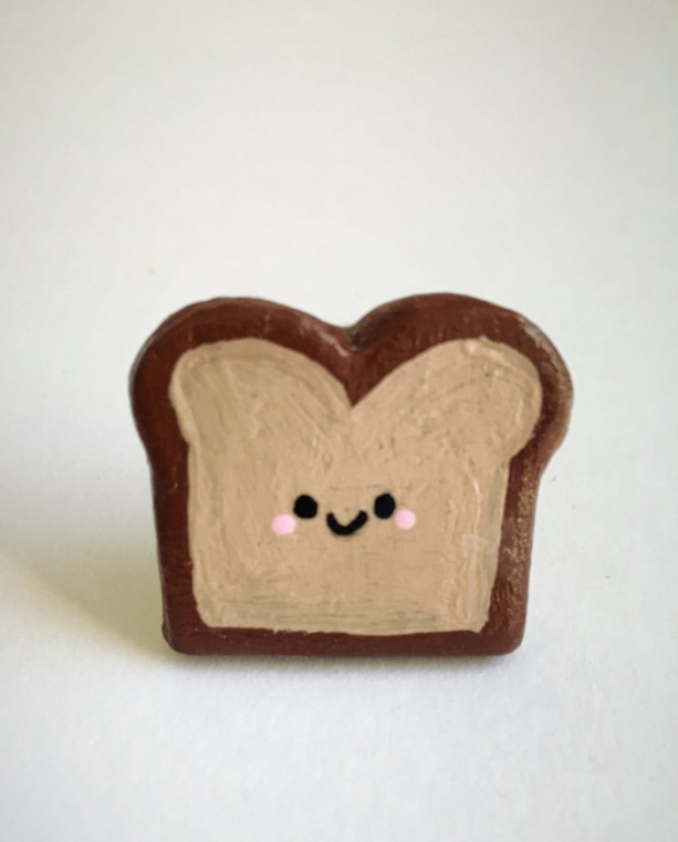 Handmade Brooch Toast Pin Bread Cute Kawaii Clay jewelry Artisan accessory