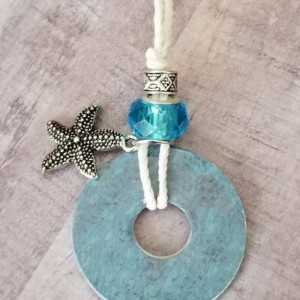 Pendant Necklace/Washer Style -Adjustable Knots - Starfish/Beach Theme - Not All Stars Are In Sky - Plain Old Fun Collection