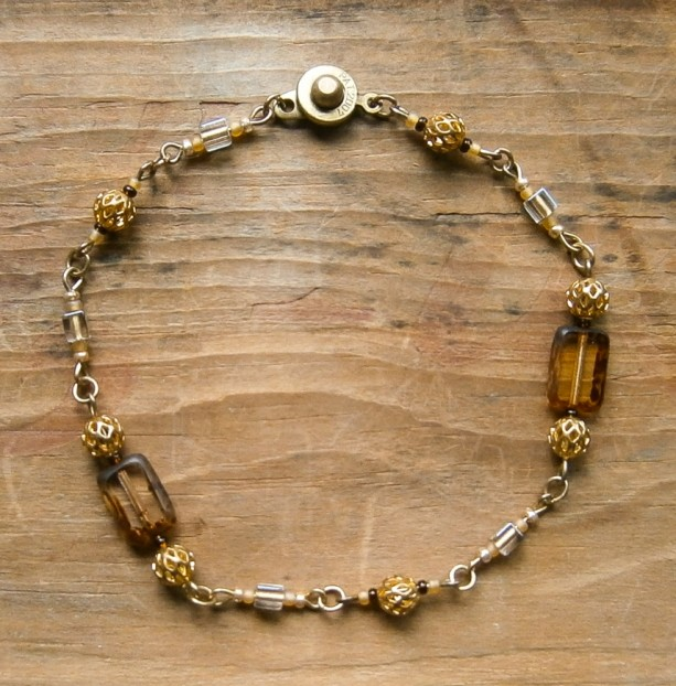 Amber and gold multi bead bracelet