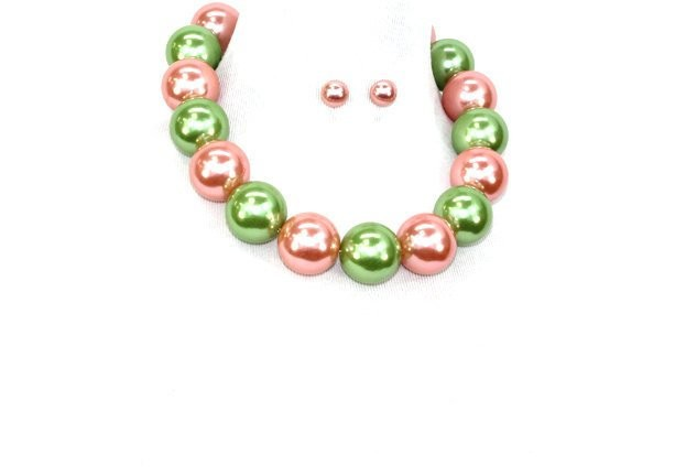 Pink and Green Pearl Alpha Kappa Alpha Inspired  30MM Necklace Set
