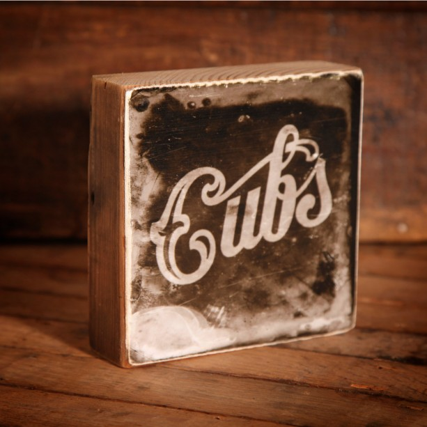 Chicago Cubs Vintage Distressed Logo Reclaimed Wood Block