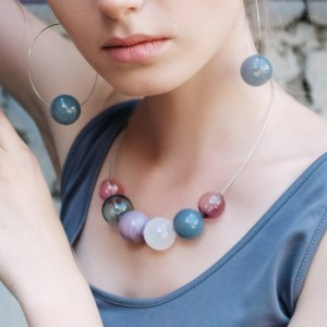 Blown Glass Necklace - Delicate Dusty Colors - Lightweight