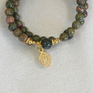 Rosary Bracelet of Unakite and Moss Agate Beads