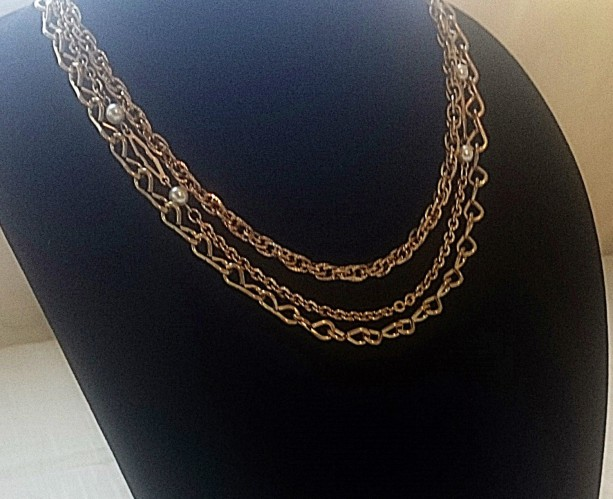 Multi Strand Necklace, Layered Necklace, Gold Necklace
