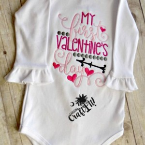 1st Valentines Day Girls Tshirt, Toddlers, Infants,Heart, Pink, Personalized, Embroidered, Appliqued
