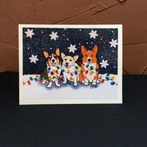 Set of 4 Corgi Christmas Cards, Pembroke Cardigan Corgi Christmas Card, Corgi New Years Card, Festive Corgi Winter Card, Funny Corgi Holiday Card