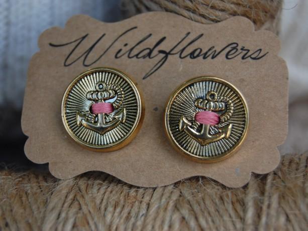 Anchor Nautical Button Stud Earrings