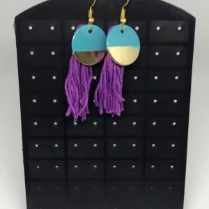 Gold Blue and Purple Tassel Charm Earrings - Charm Jewelry - Tassel Earrings