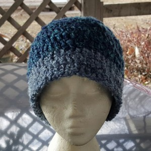 Messy Bun Beanie - Blue and Grey