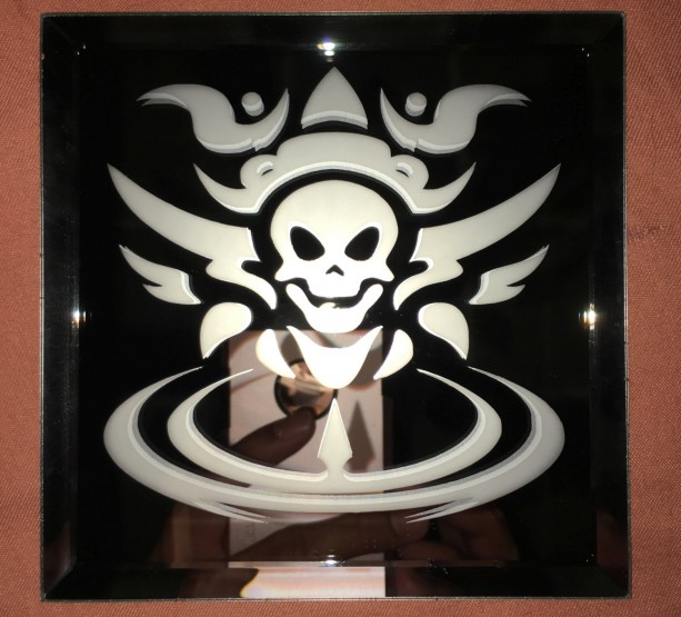 Tribal Skull Mirror Glass Etching