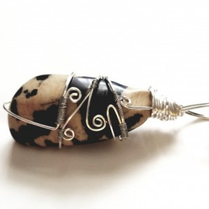 ECO - Nguni Jasper Stone Silver Wrapped Wire Necklace - Tan and Dark Brown