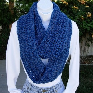 Medium Dark Solid Blue COWL SCARF Infinity Loop, Extra Soft Long Crochet Knit Lightweight Winter Eternity Circle Endless..Ready to Ship in 3 Days