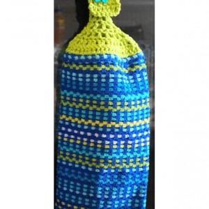 Royal Ocean Blues Crochet Top KitchenTowel, Set of 2