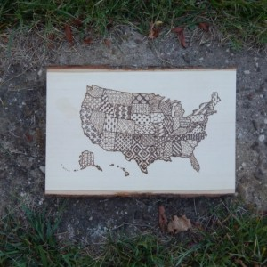 Wood Burned USA Map