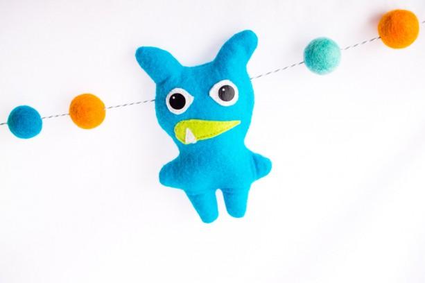 Baby Monster Banner Wool Felt Ball Garland With Monsters Theme Nursery Decor
