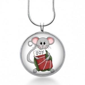 Stocking Mouse Necklace - Christmas Jewelry - Animal Pendant- Joy