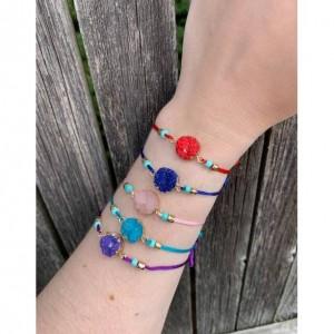 Make a Wish, Wish Bracelet, Purple Charm Bracelet, Lucky Purple String Bracelet ,Stocking Stuffer for Friends