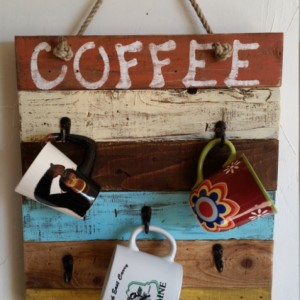 "Rustic, handmade hand painted wooden ""Coffee"" wall hanging"