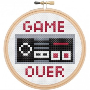 Game Over Nintendo Controller Retro Cross Stitch DIY KIT Beginner