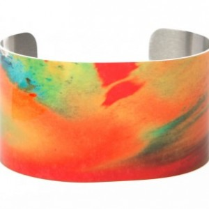 Photo cuff bracelet, aluminum, Ephemeral Colorburst, fine art for wrist, HueDew