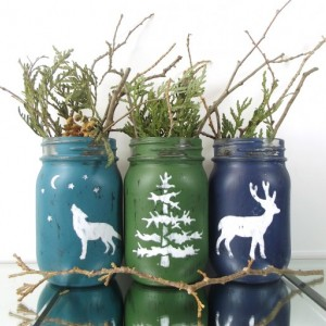Woodland Decor, Hand Painted Mason Jars, Set of Three Jars