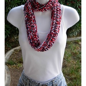 Red White and Blue 4th of July SUMMER SCARF Small Infinity Loop Soft Lightweight Crochet Necklace, Skinny Knit Cowl..Ready to Ship in 2 Days