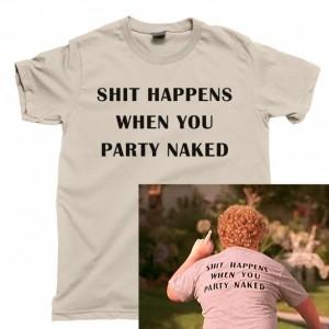 Bad Santa Men's T Shirt, Shit Happens When You Party Naked Christmas Movie Unisex Cotton Tee Shirt